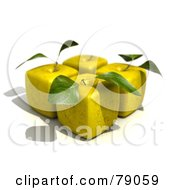 Royalty Free RF Clipart Illustration Of Four 3d Golden Delicious Cubic Genetically Modified Apples With Leaves Version 1 by Frank Boston