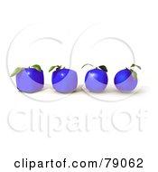 Row Of Four 3d Blue Genetically Modified Orange Citrus Fruits