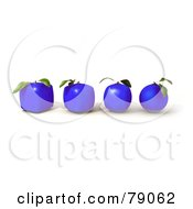 Royalty Free RF Clipart Illustration Of A Row Of Four 3d Blue Genetically Modified Orange Citrus Fruits