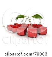 Group Of 3d Cubic Genetically Modified Red Bing Cherries With Stems