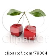 Royalty Free RF Clipart Illustration Of A Stem Connecting Two 3d Genetically Modified Cubic Cherries by Frank Boston