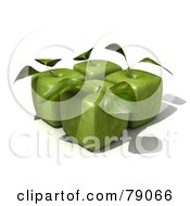 Four 3d Granny Smith Cubic Genetically Modified Apples With Leaves - Version 2