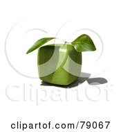 Royalty Free RF Clipart Illustration Of A Whole 3d Genetically Modified Cubic Granny Smith Apple by Frank Boston