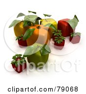 Royalty Free RF Clipart Illustration Of A Display Of 3d Cubic Genetically Modified Oranges Apples Strawberries And Cherries Version 5 by Frank Boston