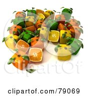 Royalty Free RF Clipart Illustration Of A Display Of Cubic Genetically Modified 3d Oranges Lemons And Limes With Leaves by Frank Boston