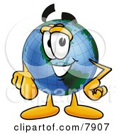 Clipart Picture Of A World Earth Globe Mascot Cartoon Character Pointing At The Viewer by Toons4Biz