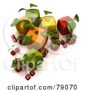 Display Of 3d Cubic Genetically Modified Oranges Apples Strawberries And Cherries - Version 1
