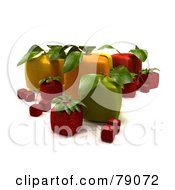 Display Of 3d Cubic Genetically Modified Oranges Apples Strawberries And Cherries - Version 4
