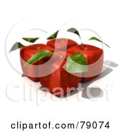Four 3d Red Delicious Cubic Genetically Modified Apples With Leaves - Version 1