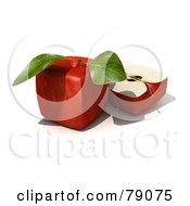 Slice Resting Beside A Whole 3d Genetically Modified Cubic Red Delicious Apple