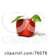 Royalty Free RF Clipart Illustration Of A Whole 3d Genetically Modified Cubic Red Delicious Apple by Frank Boston