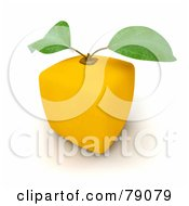 Royalty Free RF Clipart Illustration Of A Whole Cubic 3d Genetically Modified Lemon Citrus Fruit Version 2 by Frank Boston