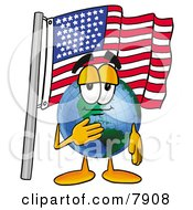 Clipart Picture Of A World Earth Globe Mascot Cartoon Character Pledging Allegiance To An American Flag by Toons4Biz