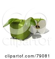 Royalty Free RF Clipart Illustration Of A Slice Resting Beside A Whole 3d Genetically Modified Cubic Granny Smith Apple Version 2