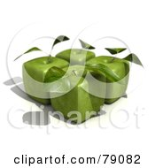 Four 3d Granny Smith Cubic Genetically Modified Apples With Leaves - Version 1