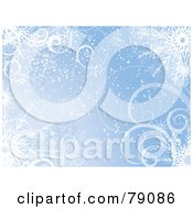 Royalty Free RF Clipart Illustration Of A Blue Swirl And Snowflake Wallpaper Background
