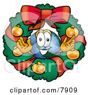 World Earth Globe Mascot Cartoon Character In The Center Of A Christmas Wreath