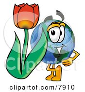 World Earth Globe Mascot Cartoon Character With A Red Tulip Flower In The Spring