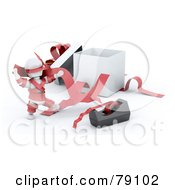 Royalty Free RF Clipart Illustration Of A 3d White Character Tangled In Tape And Ribbons By A Gift Box