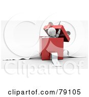 Royalty Free RF Clipart Illustration Of A 3d White Character Peeking Out Of A Red Gift Box With White Ribbons