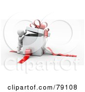 Royalty Free RF Clipart Illustration Of A 3d White Character Peeking Inside A White Gift Box With Red Ribbons And A Bow
