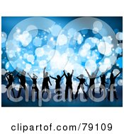 Royalty Free RF Clipart Illustration Of A Group Of Silhouetted Christmas Party Dancer People Against Blue Sparkles