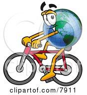 World Earth Globe Mascot Cartoon Character Riding A Bicycle