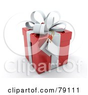 Gift Tag Hanging From A White Bow On A 3d Red Gift Box