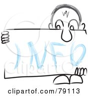 Royalty Free RF Clipart Illustration Of A Long Nosed Sketch Guy Holding An INFO Sign Board by MacX