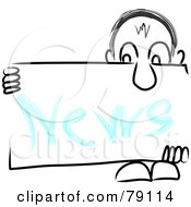 Royalty Free RF Clipart Illustration Of A Long Nosed Sketch Guy Holding A NEWS Sign Board by MacX