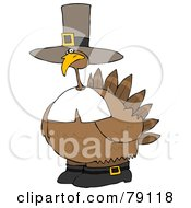 Chubby Pilgrim Turkey Bird Wearing A Hat And Boots