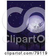 Royalty Free RF Clipart Illustration Of A Vertical Background Of The Full Moon Over Winter Trees At Night Under A Starry Sky