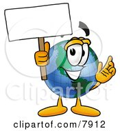 Clipart Picture Of A World Earth Globe Mascot Cartoon Character Holding A Blank Sign by Toons4Biz