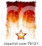 Royalty Free RF Clipart Illustration Of A Festive Golden And Red Star On A Background Of Snowflake Rays by elaineitalia
