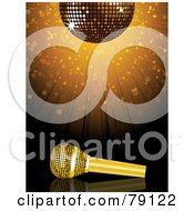 Royalty Free RF Clipart Illustration Of A Golden Microphone Under A Sparkly Disco Ball With A Burst by elaineitalia