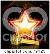 Royalty Free RF Clipart Illustration Of A Golden Microphone Resting In Front Of A Gold And Red Star On Black by elaineitalia #COLLC79123-0046