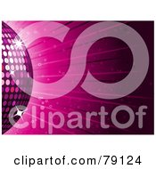 Royalty Free RF Clipart Illustration Of A Partial Pink Disco Ball On A Pink Ray Background With Stars by elaineitalia