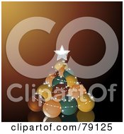 Royalty Free RF Clipart Illustration Of A Stack Of Retro Colored Christmas Balls Forming A Christmas Tree On Brown by elaineitalia