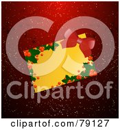 Royalty Free RF Clipart Illustration Of A Golden Blank Holly Text Box Or Gift Tag With A Red Bow On A Red And Gold Floral Background by elaineitalia