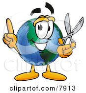 World Earth Globe Mascot Cartoon Character Holding A Pair Of Scissors