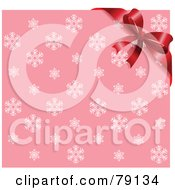 Royalty Free RF Clipart Illustration Of A Pink Snowflake Background With A Red Bow Ribbon In Teh Upper Right Corner
