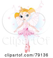 Pretty Blond Ballet Princess In A Pink Tutu And Slippers