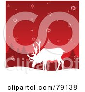 Royalty Free RF Clipart Illustration Of A White Reindeer Silhouette Under A Red Snowflake Sky