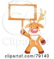 Royalty Free RF Clipart Illustration Of A Cute Rudolph The Red Nosed Reindeer Holding A Blank Sign Board With Snow On Top by Pushkin