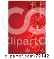 Royalty Free RF Clipart Illustration Of A Bright Red Vertical Xmas Holiday Background With Christmas Bulbs Waves And Snowflakes by Pushkin