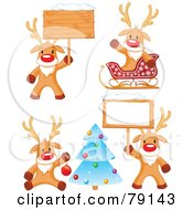 Royalty Free RF Clipart Illustration Of A Digital Collage Of Cute Rudolph The Red Nosed Reindeer Christmas Poses
