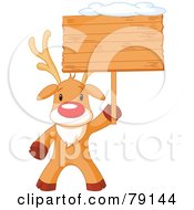 Royalty Free RF Clipart Illustration Of A Cute Rudolph The Red Nosed Reindeer Holding A Blank Wooden Sign Board With Snow On Top by Pushkin