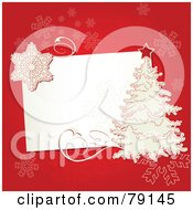 Slanted White Text Box With A White Christmas Tree And Snowflakes Over Red