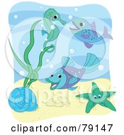 Sea Snail Starfish Fish And Seahorse With Bubbles Under The Sea With A White Border