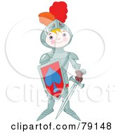 Royalty Free RF Clipart Illustration Of A Proud Armored Knight Boy Holding A Shield And Sword by Pushkin